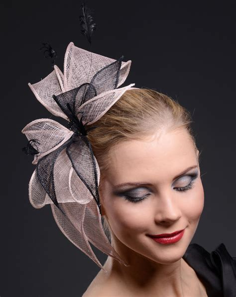 Handmade Fascinators - fascinator black and blush pink handmade for weddings ascot