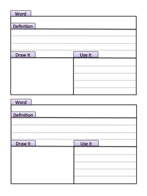 vocabulary card template 4 to a page tabbed index study cards make this page into a