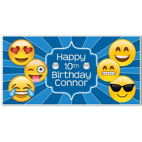 Emoji Banner Birthday Personalized Party Backdrop ? PAPER