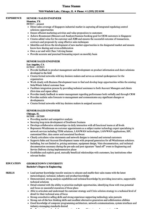 Sales Engineer Resume by Senior Sales Engineer Resume Sles Velvet