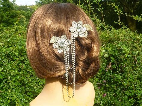 Vintage Bridal Hair Chain by Bridal Hair Comb Duo Hair Chain With Vintage Rhinestone