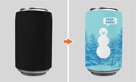 Cans And Cups And Bottle Mockup Can Cooler Template