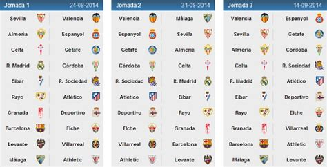 Calendario Dela Liga Bbva Calendario De La Liga Bbva 2014 15