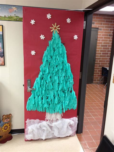 diy christmas tree classroom door decorations tree door decoration made from green gloves door decorations