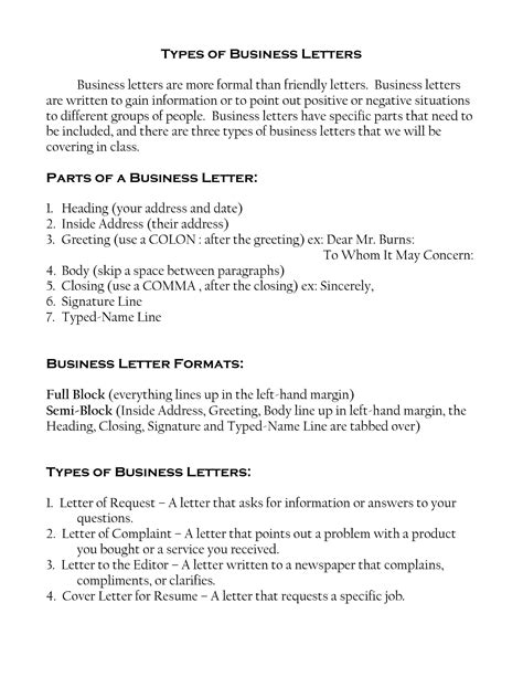 Kinds Of Business Letter And Its Definition Types Of Letter Writing Formats Best Template Collection