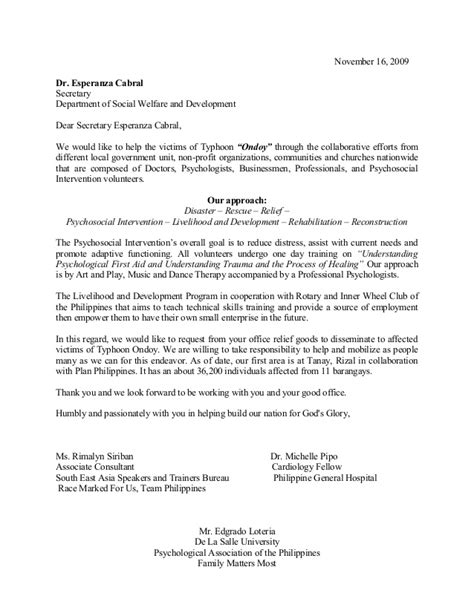 Financial Endorsement Letter Sle Letter Of Request To Dswd