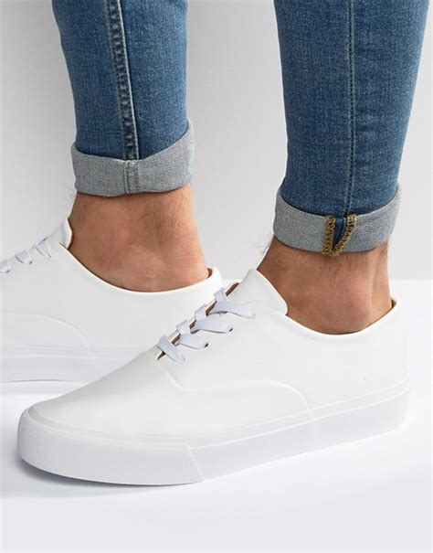 Asos Lace Up Plimsolls In White by Asos Asos Oxford Lace Up Plimsolls In White
