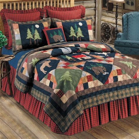 Rustic Bedding: Full/Queen Size Timberline Quilt Black