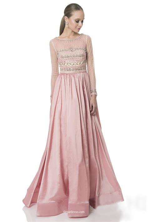 Longdresss Import 1 floor length a line pink sleeve illusion charmeuse