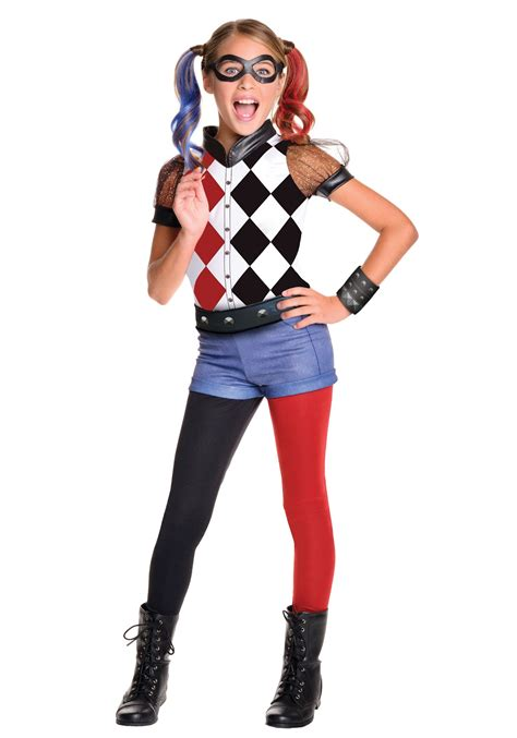 Superhero Halloween Costumes For Girls | dc superhero girls deluxe harley quinn costume