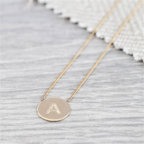 personalised westbourne 9ct gold disc necklace by auree