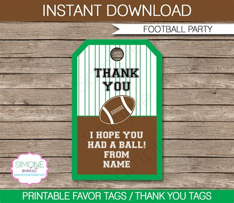 thank you favor tags template football favor tags thank you tags birthday