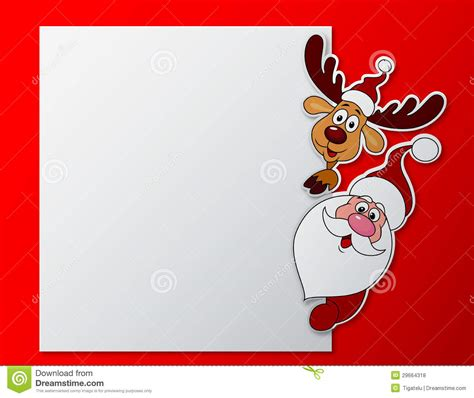 santa card template paper card with santa clause and deer with blank sign