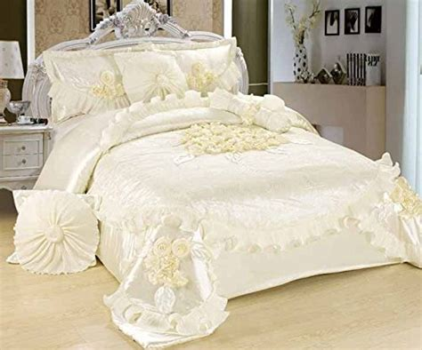 victorian comforter sets king tache 6 piece solid floral white sweet victorian satin