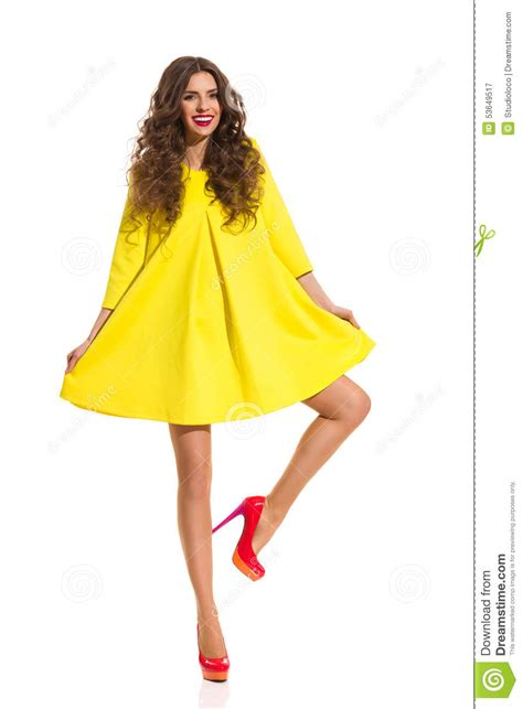 Dress Model Style Impor Yellow Purple Pink happy in yellow dress stock photo image 53649517