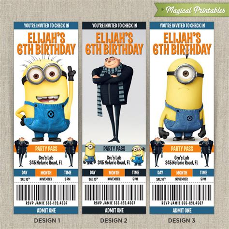 Personalized Despicable Me Birthday Ticket Invitation Card Despicable Me Invitations Templates