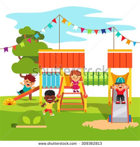 kindergarten outdoor park playground  playing stock