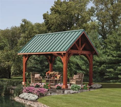 pavillon flachdach metall wood alpine pavilion with metal roof for the yard