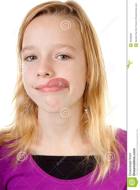 girl face pre young girl makes funny face stock photo image of fool