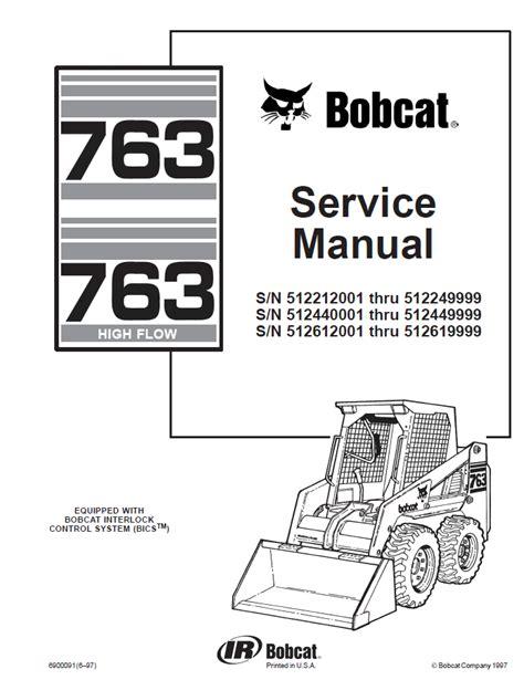 bobcat 763 763 high flow service manual pdf repair