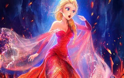 wallpaper 3d elsa beautiful princess elsa red dress frozen disney movie