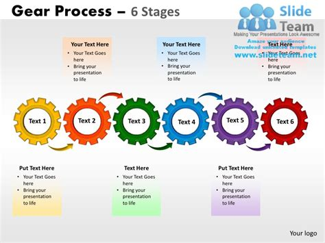 process powerpoint template 6 stages gears process powerpoint slides ppt templates