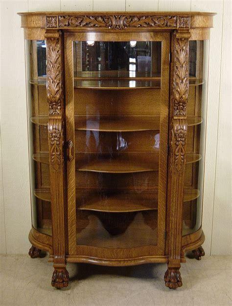 Serpentine Oak China Cabinet