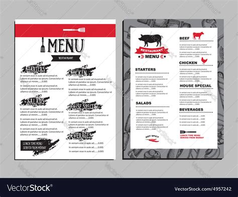 Menu Brochure Template Free by Cafe Menu Restaurant Brochure Food Design Template