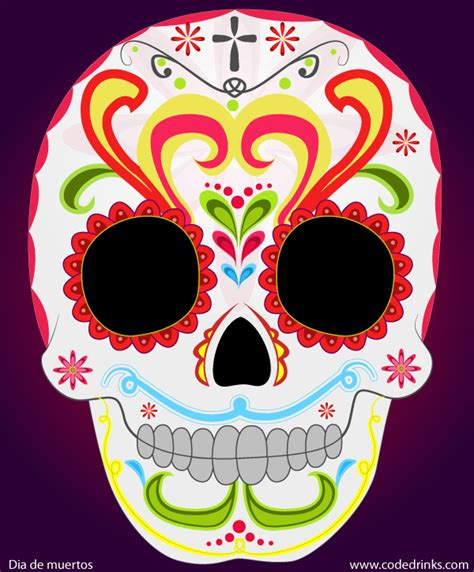 Day Of The Dead Sugar Skull Vector Image 123freevectors Day Of The Dead Skull Vector