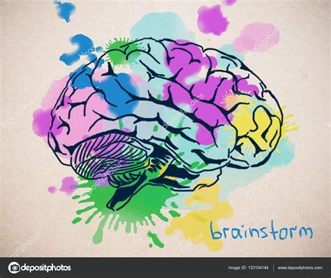 cerca del cerebro humano colorido creativo dibujo sobre