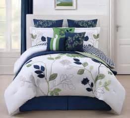 reversible white and dark blue pattern comforter sets with