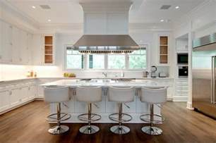 Stools For Island In Kitchen Island With White Leather Barrel Back Counter Stools