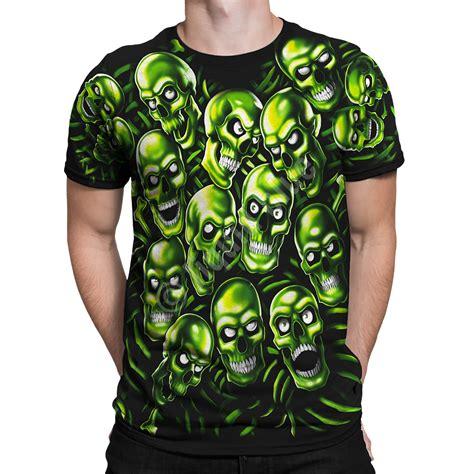 Skull The Shirt skull pile green black t shirt liquid blue j