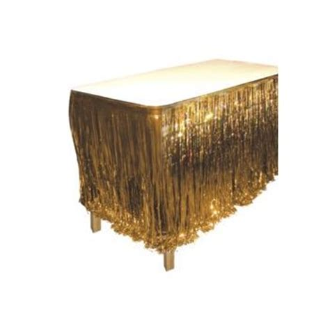 city table skirts gold metallic fringed table skirt windy city novelties