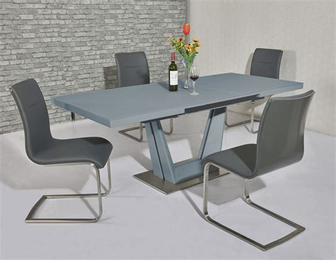 matt grey glass dining table  grey gloss chairs homegenies