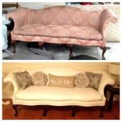 vintage before and after furniture reupholster