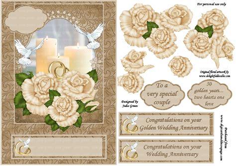 Wedding Decoupage - 3d topper golden wedding anniversary 3d card toppers