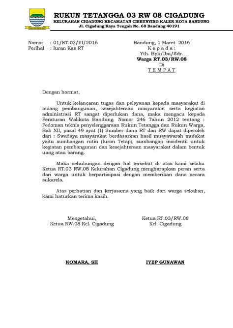 Surat Edaran Iuran RT | Info RW.08 Kel. Cigadung Bandung