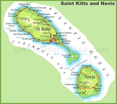 st kitts and nevis map kitts and nevis road map