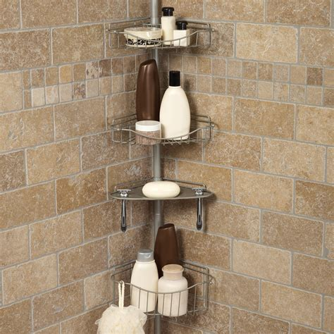 Bathroom Caddies Shower Zenith E2120bc Tub And Shower Tension Pole Caddy Satin Nickel Shower And Bath Caddies At