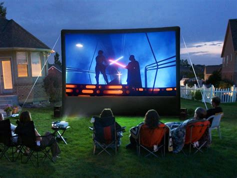 backyard movie projector rental inflatable movie screen package partytime rentals