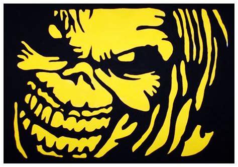 iron maiden stencil art yellow black stencil art