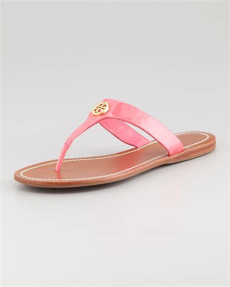 burch pink sandals burch cameron patent logo sandal in pink