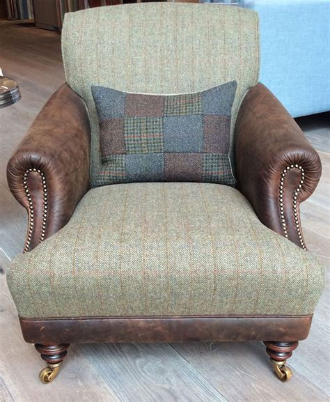 Leather And Tweed Sofa The Huntsman Chair In Bard Leather Harris Tweed