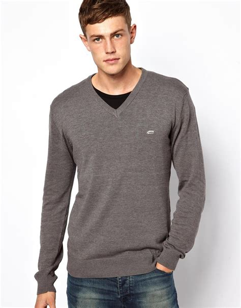 Hoodie Jumper Rebel8 Grey lyst connection v neck jumper in gray for