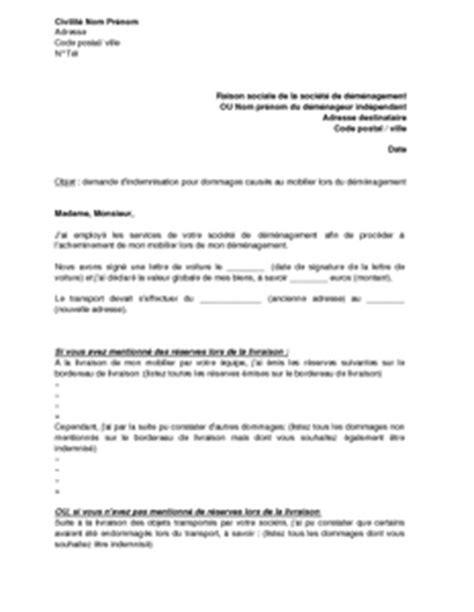 Modele De Lettre Entreprise Client Lettre De Demande D Indemnisation Au D 233 M 233 Nageur Pour Les Dommages Caus 233 S Aux Biens Du Client