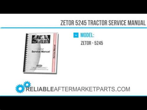 2409 New Zetor 5245 Tractor Service Manual Youtube