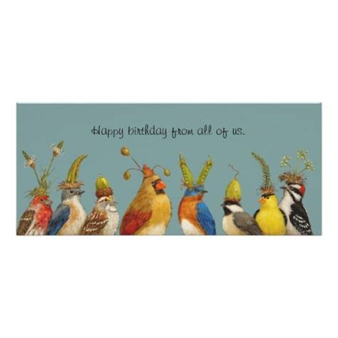 bird birthday greeting from the group flat card