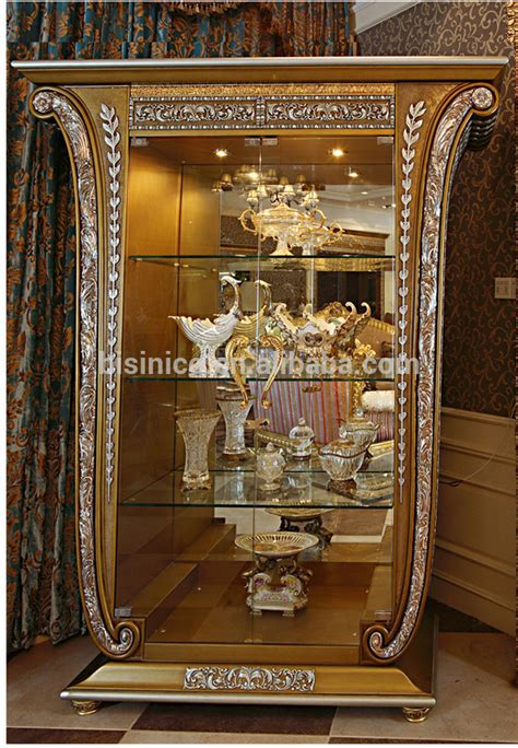 luxurious wooden carving showcase cabinet using clear luxury french baroque style golden four door glass display