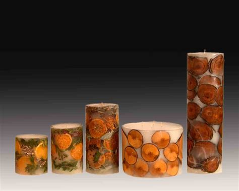 Handmade Candle - handmade candles filled in fruits wood flowers photo